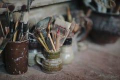 Le spazzole degli artisti Fotografia Stock Libera da Diritti