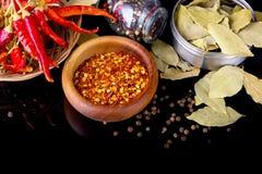 Le spezie e le erbe, la foglia di alloro, il pepe nero e la ciotola di legno di peperoncino rosso si sfalda Fotografia Stock
