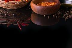 Le spezie e le erbe, la foglia di alloro, il pepe nero e la ciotola di legno di peperoncino rosso si sfalda Fotografia Stock Libera da Diritti