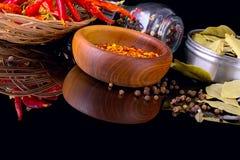 Le spezie e le erbe, la foglia di alloro, il pepe nero e la ciotola di legno di peperoncino rosso si sfalda Immagini Stock Libere da Diritti