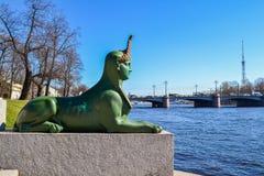 Le sphinx au pont de Kamennoostrovsky photographie stock