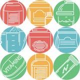 Le sport complète les icônes plates de couleur Images stock
