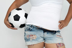 Le sport de la femme asiatique avec de la sa graisse de ventre Image libre de droits