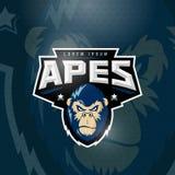 Le sport imite le signe, l'emblème ou le Logo Template abstrait de vecteur Sport Team Mascot Label Gorilla Face fâché avec la typ illustration libre de droits