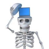 le squelette 3d indique un ordinateur portable à l'intérieur de son crâne Photographie stock libre de droits