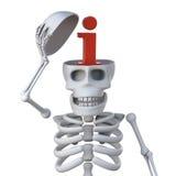 le squelette 3d ouvre le crâne pour indiquer un symbole de l'information Photographie stock libre de droits