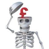 le squelette 3d a un symbole monétaire de livres sterling du R-U dans son crâne Photos libres de droits