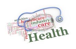 le stéthoscope 3d au-dessus du mot de soins de santé étiquette l'illustration Photo libre de droits