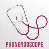 Le stéthoscope réaliste d'isolement dirigent l'illustration de matériel médical illustration de vecteur
