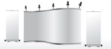 Le stand commercial blanc d'exposition et s'enroulent illustration de vecteur
