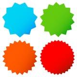 Le starburst/rayon de soleil différents badges, forme dans la couleur 4 Photographie stock
