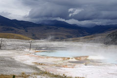 le stationnement gigantesque jaillit les Etats-Unis thermiques yellowstone Image stock