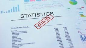 Le statistiche hanno rifiutato, mano che timbra la guarnizione sul documento ufficiale, statistiche archivi video