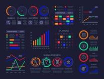 Le statistiche infographic moderne di cronologia del hud finanziano la ricerca di analisi dei dati dell'illustrazione di visualiz royalty illustrazione gratis