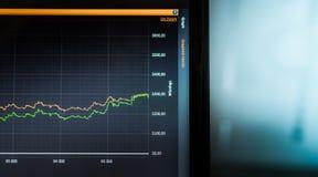 Le statistiche sul computer portatile schermano come grafico Statistiche della mazza Fotografie Stock