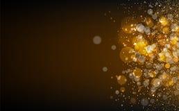 Le stelle d'oro, polvere, particelle d'ardore dei punti spargono il confett di struttura illustrazione vettoriale