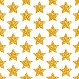 Le stelle dorate geometriche del modello senza cuciture brillano scintillando illustrazione vettoriale