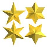 Le stelle dorate hanno isolato i distintivi dell'oro Fotografia Stock