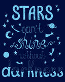 Le stelle inscatolano il lustro del ` t senza oscurità Citazione ispiratrice Fotografia Stock Libera da Diritti
