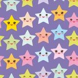 Le stelle senza cuciture di Kawaii del modello hanno messo, fronte con i colori pastelli gialli porpora verde blu rosa degli occh illustrazione vettoriale