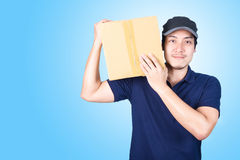 Le stilig asiatisk geende och bärande jordlottnolla för leveransman Royaltyfria Foton