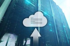 Le stockage, l'accès aux données, le login et le mot de passe de nuage demandent la fenêtre sur le fond de pièce de serveur E photos libres de droits