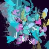 Le strisce blu strutturate disegnate a mano, colpi, spruzza e macchia illustrazione vettoriale