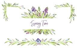 Le strutture dipinte a mano hanno messo con i fiori e le foglie dei giacinti Illustrazione dell'acquerello della primavera in ton illustrazione di stock