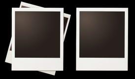 Le strutture istantanee della polaroid della foto hanno messo isolato sul nero Fotografie Stock Libere da Diritti