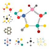 Le strutture molecolari variopinte sotto forma di sfera strutturano il web design microscopico della tecnologia, vettore della mo royalty illustrazione gratis