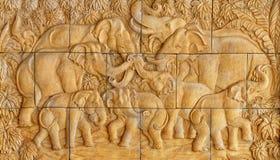 Le stuccowork d'éléphants Photos libres de droits