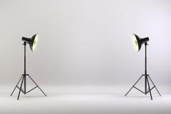 le studio 3d a installé avec les lumières et le fond blanc illustration de vecteur