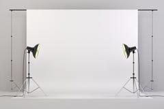le studio 3d a installé avec les lumières et le fond blanc illustration libre de droits