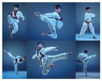 Le studio a tiré des enfants formant des arts martiaux de karaté photographie stock libre de droits