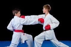Le studio a tiré du groupe d'enfants formant des arts martiaux de karaté photos stock