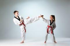 Le studio a tiré du groupe d'enfants formant des arts martiaux de karaté images libres de droits
