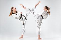 Le studio a tiré du groupe d'enfants formant des arts martiaux de karaté photographie stock libre de droits
