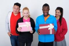 Le studio a tiré du groupe divers heureux de smili ethnique multi d'amis Photographie stock