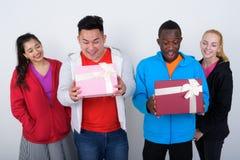 Le studio a tiré du groupe divers heureux de smili ethnique multi d'amis Photo libre de droits