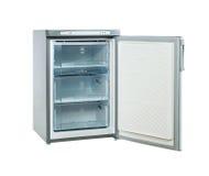 Le studio a tiré le petit réfrigérateur d'acier inoxydable d'isolement sur le blanc Photos libres de droits