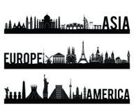 Le style célèbre entre l'Asie et l'Europe et de l'Amérique de continent de point de repère de silhouette avec la conception class illustration stock
