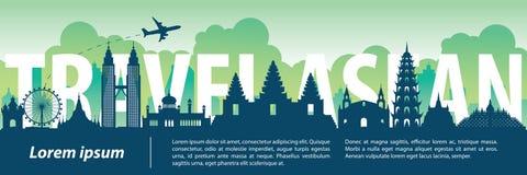 Le style célèbre supérieur de silhouette de point de repère d'ASEAN, texte en dedans, voyagent illustration de vecteur