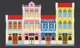 Le style colonial coloré et historique a lié des maisons de terrasse illustration libre de droits