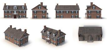 Le style colonial d'architecture de brique rouge rend l'ensemble de différents angles sur un blanc illustration 3D illustration de vecteur