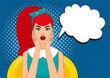 Le style comique d'art de bruit a étonné la femme avec la bulle de la parole, goupille vers le haut de portrait de fille, illustr illustration stock
