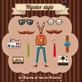 Le style de hippie attribue le concept, style de bande dessinée Images libres de droits