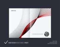 Le style doux de double-page de conception abstraite de brochure avec les lignes colorées ondule pour le marquage à chaud Présent illustration libre de droits