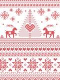 Le style et la culture scandinaves de nordic ont inspiré le modèle sans couture de Noël et d'hiver de fête dans le style croisé d Photos libres de droits