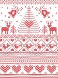 Le style et la culture scandinaves de nordic ont inspiré le modèle sans couture de Noël et d'hiver de fête dans le style croisé d Images stock