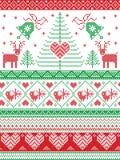 Le style et la culture scandinaves de nordic ont inspiré Noël, modèle sans couture d'hiver de fête dans le style croisé de point  Photographie stock